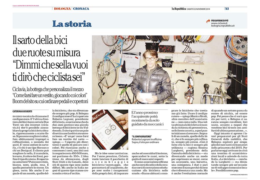 Articolo su Repubblica: Il sarto delle bici. Roberto Legnani