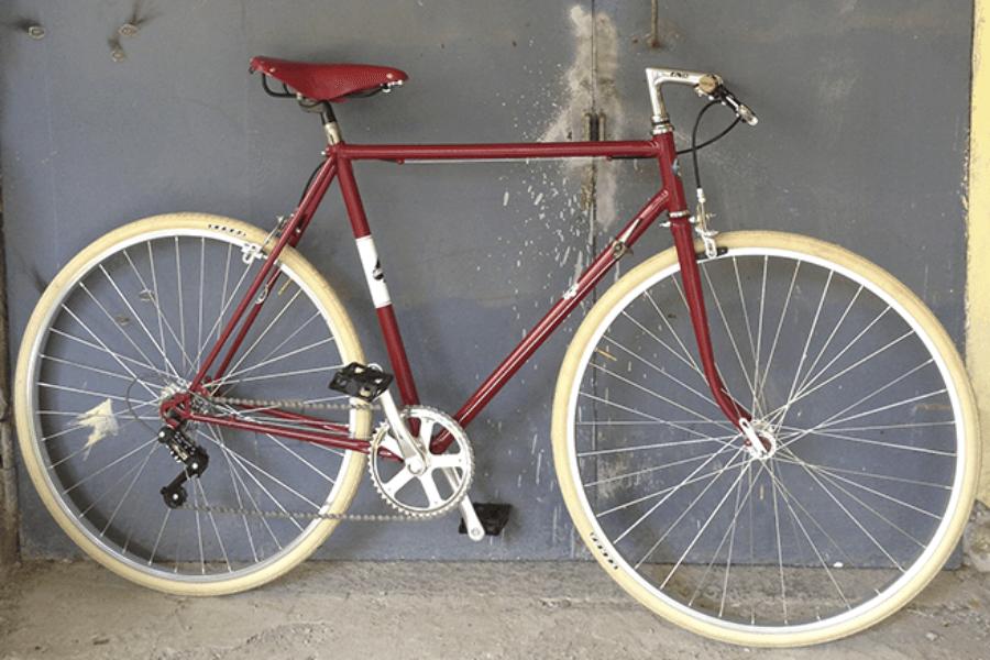 Bici Artigianale rebuilt bordò, con marce.