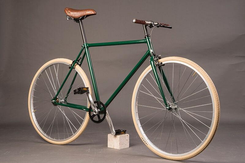 Ciclavia Bologna Bici Urban verde inglese pelle beige