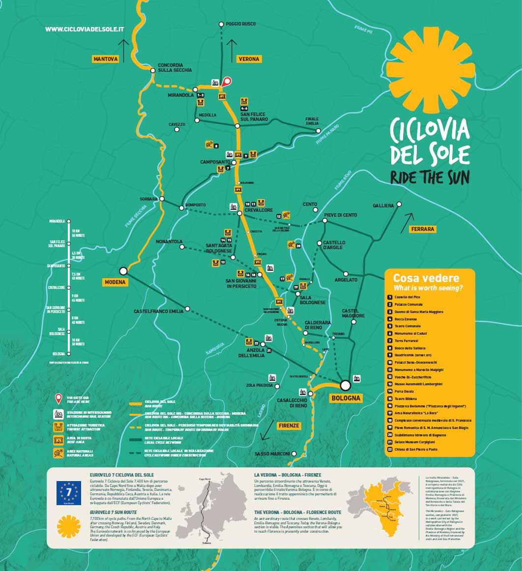 Ciclovia del Sole da Bologna a Verona lungo l'antica Ferrovia
